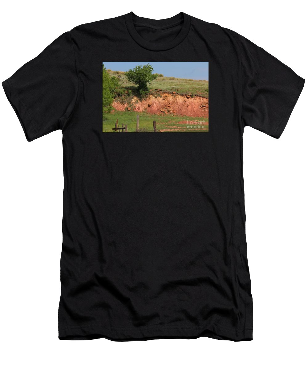 Red Men's T-Shirt (Athletic Fit) featuring the photograph Red Sandstone Hillside With Grass by Robert D Brozek