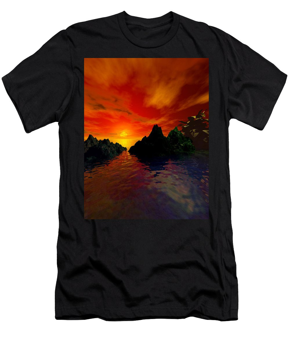Red Sky Men's T-Shirt (Athletic Fit) featuring the digital art Red Sky by Kim Prowse