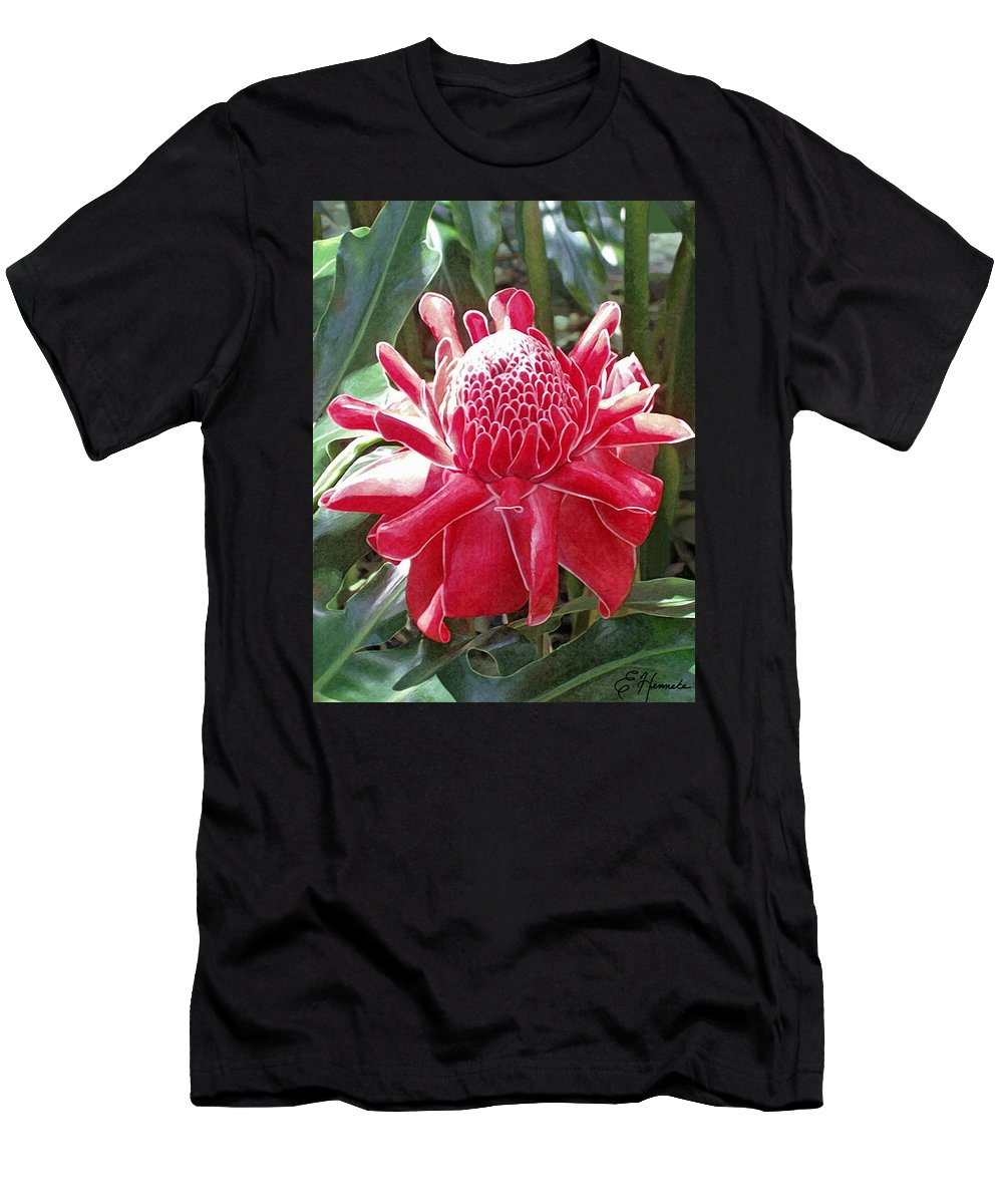 Red Torch Ginger Men's T-Shirt (Athletic Fit) featuring the painting Red Torch Ginger by Ellen Henneke