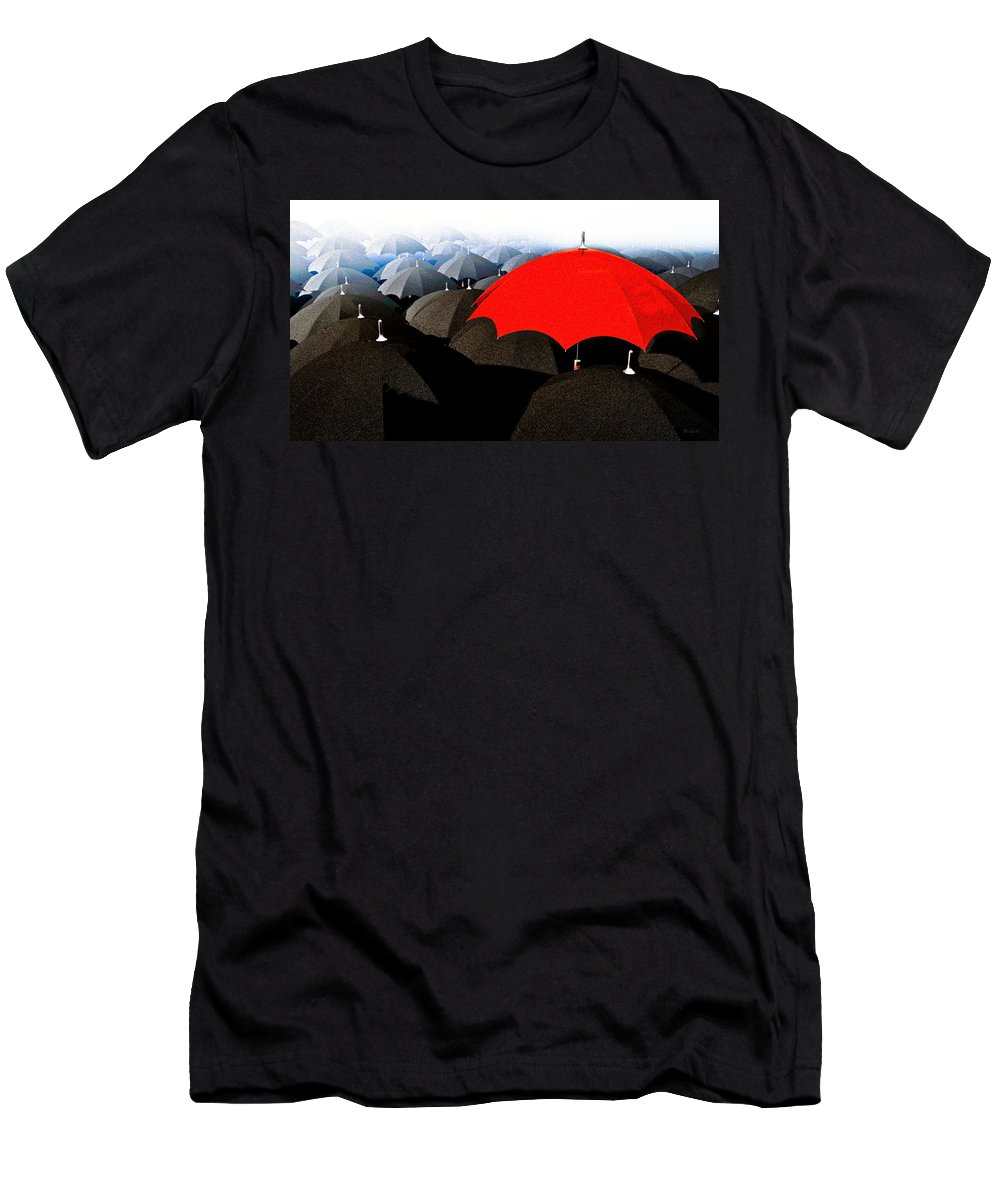 Umbrella Men's T-Shirt (Athletic Fit) featuring the digital art Red Umbrella In The City by Bob Orsillo