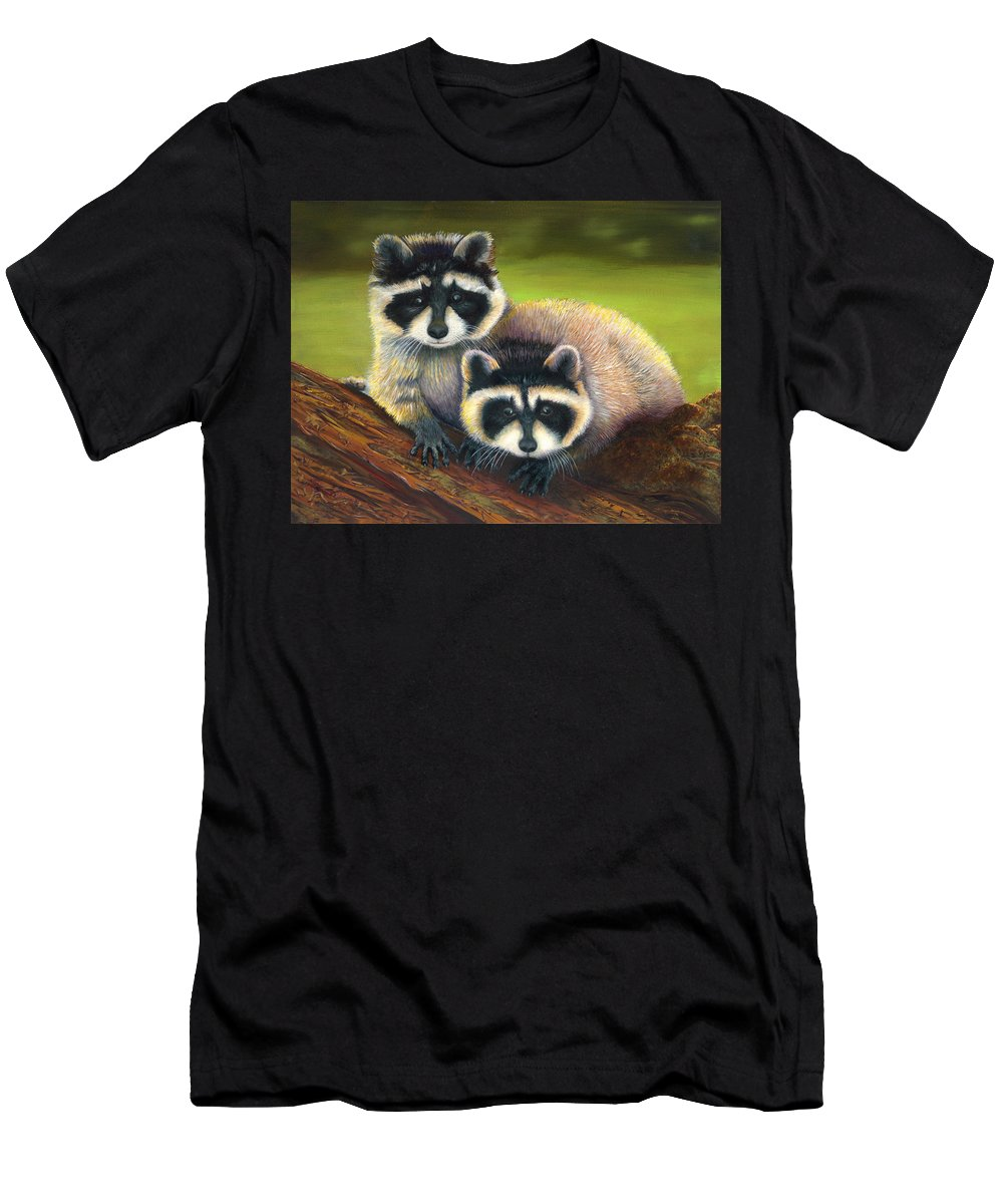 Raccoon Painting Men's T-Shirt (Athletic Fit) featuring the painting Redwood Rascals by Sherry Cullison