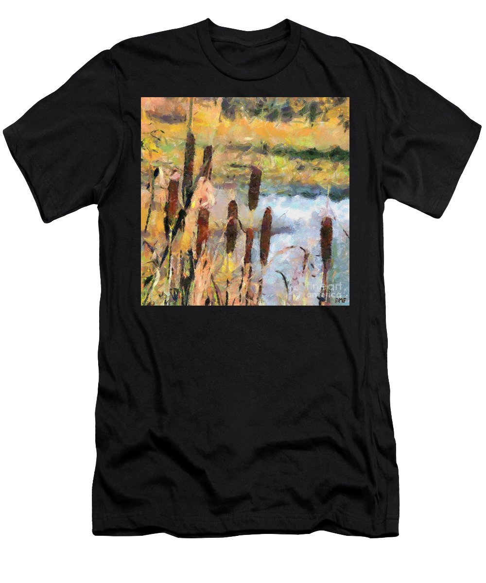 Landscapes Art Men's T-Shirt (Athletic Fit) featuring the painting Reedmace by Dragica Micki Fortuna