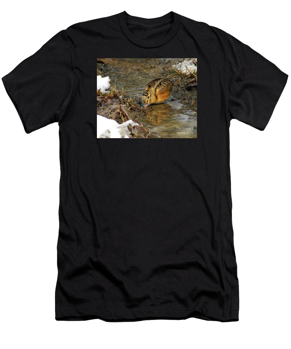 Woodcock Men's T-Shirt (Athletic Fit) featuring the photograph Reflected Eye Woodcock by Timothy Flanigan