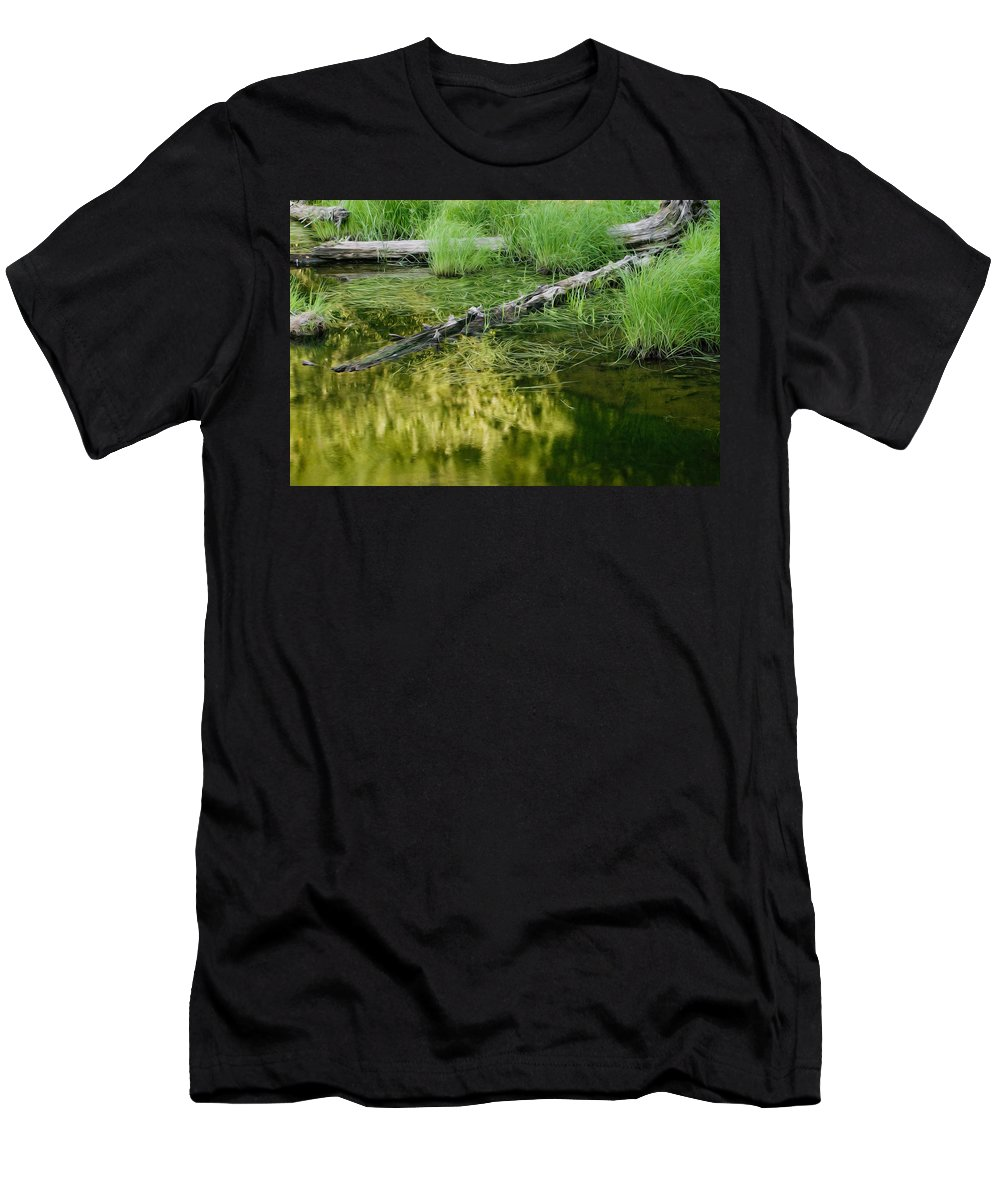Glacier National Park Men's T-Shirt (Athletic Fit) featuring the photograph Reflecting Pond Glacier National Park Painted by Rich Franco