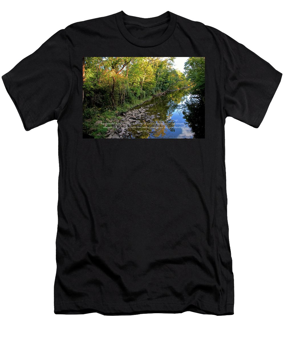 Stream Men's T-Shirt (Athletic Fit) featuring the photograph Reflections In The Stream by Debbie Nobile