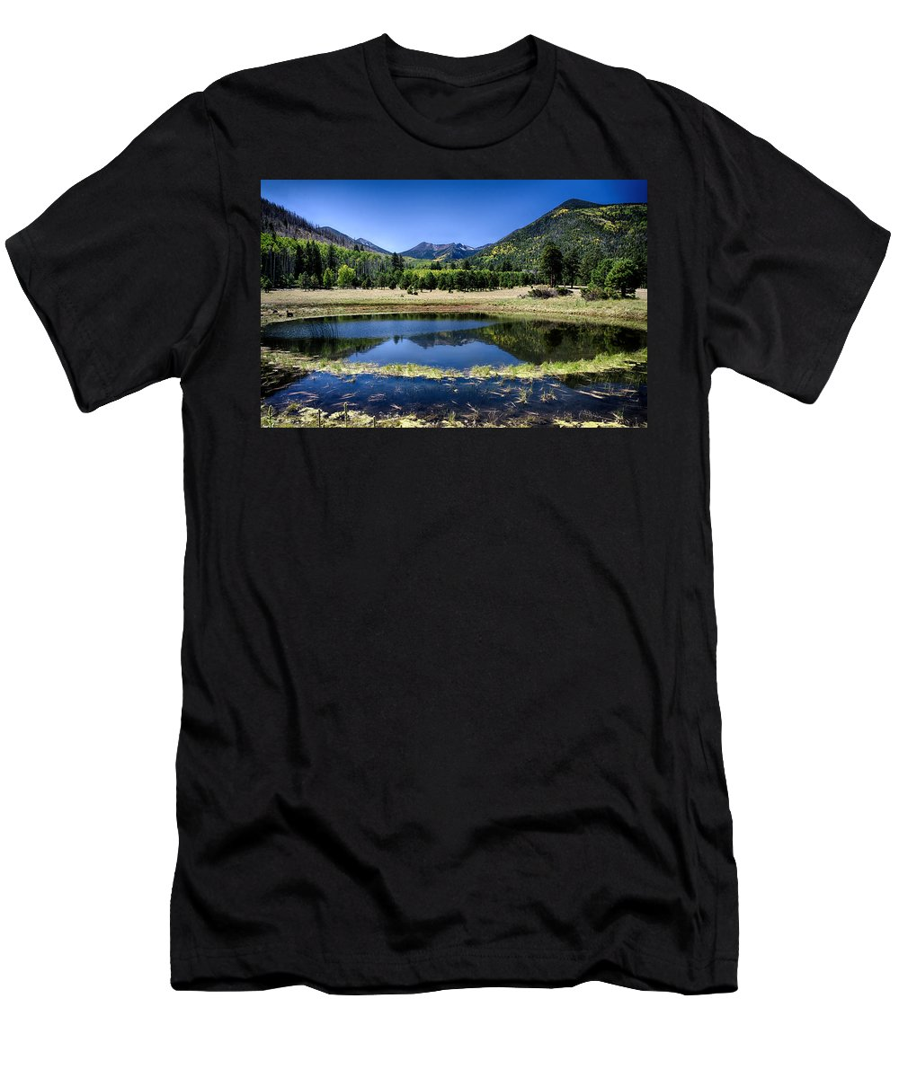 Fall Men's T-Shirt (Athletic Fit) featuring the photograph Reflections Of Blue by Saija Lehtonen