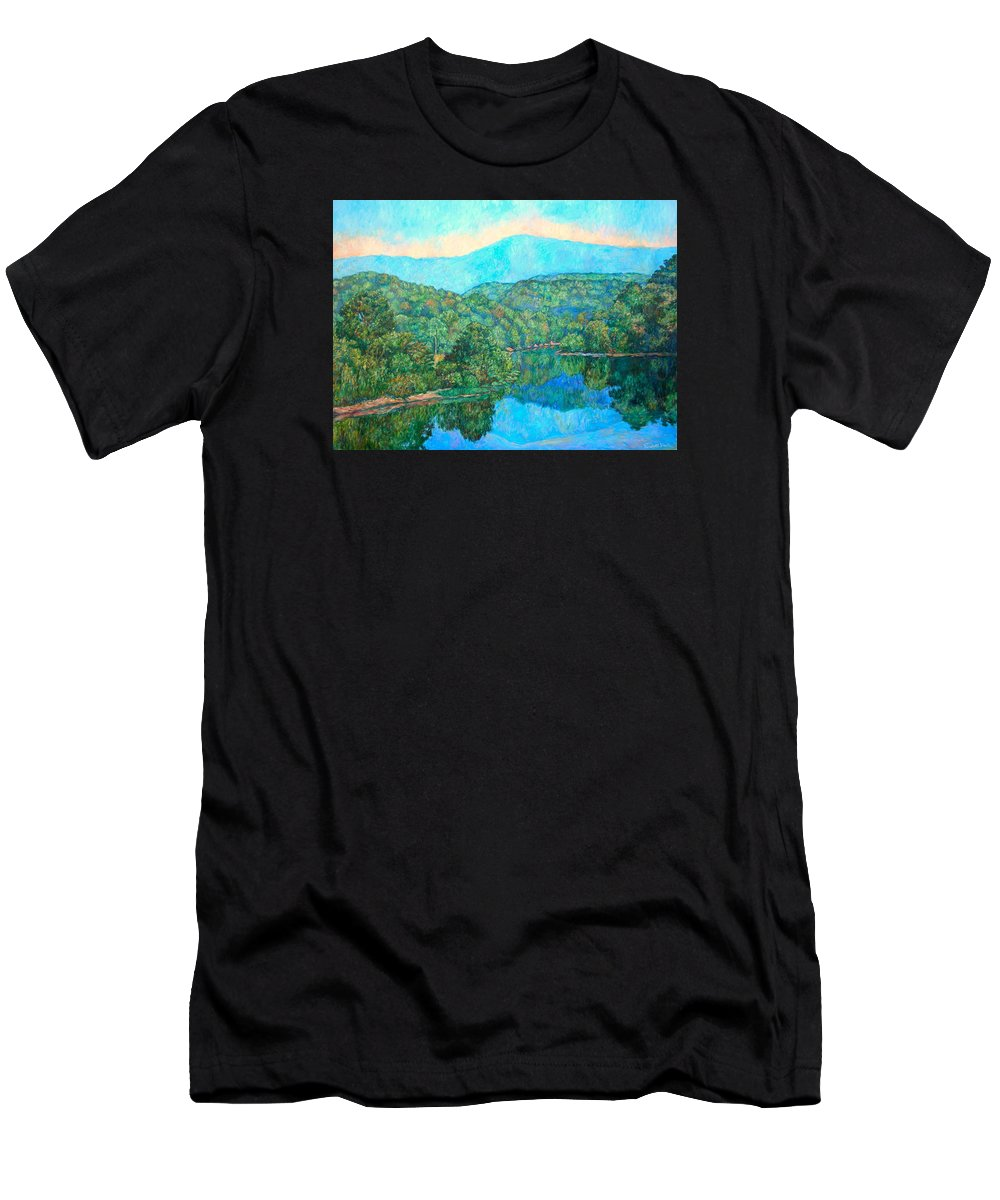 Mountainscape Men's T-Shirt (Athletic Fit) featuring the painting Reflections On The James River by Kendall Kessler