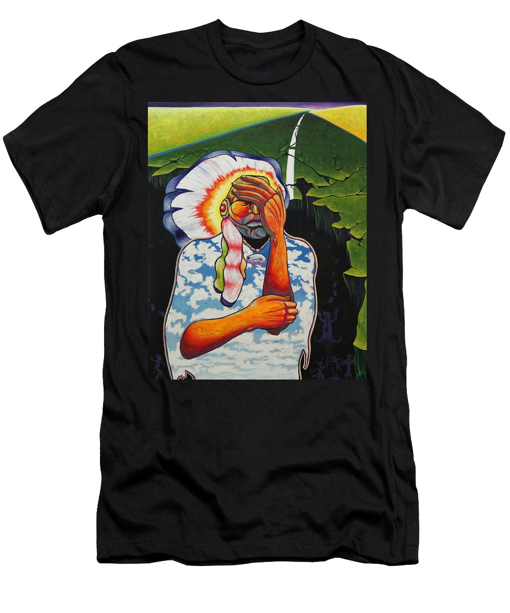 American Indian Men's T-Shirt (Athletic Fit) featuring the painting Release Me by Joe Triano