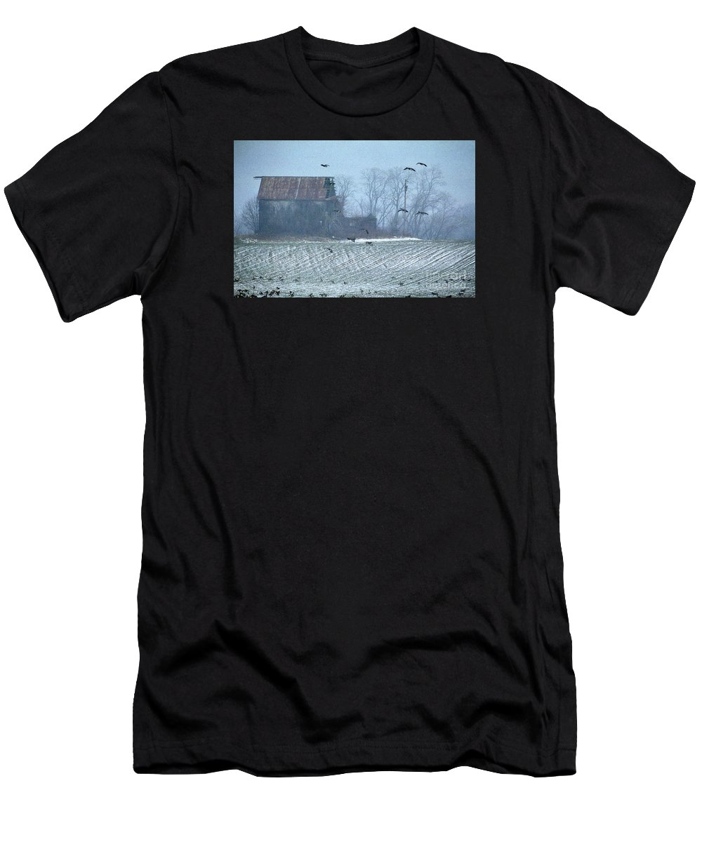 Nature Men's T-Shirt (Athletic Fit) featuring the photograph Remembering The Farm by Skip Willits