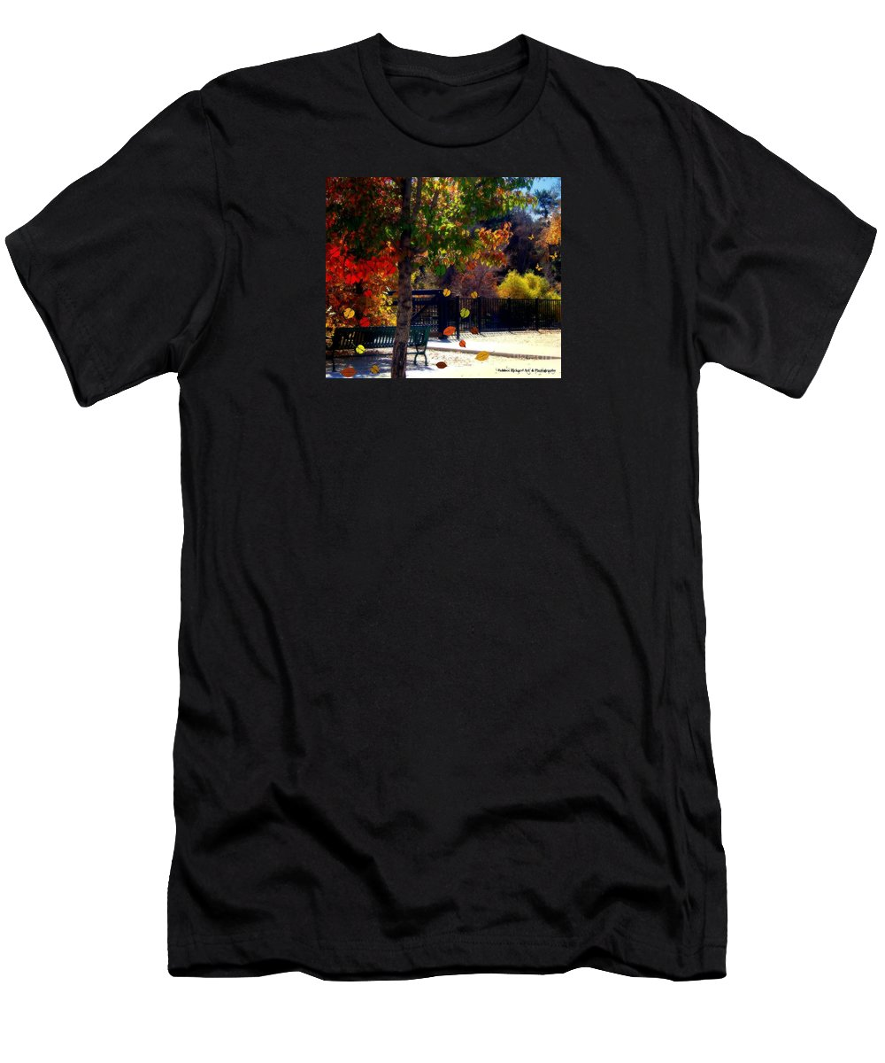 Fall Men's T-Shirt (Athletic Fit) featuring the photograph Reno Riverwalk In The Fall by Bobbee Rickard