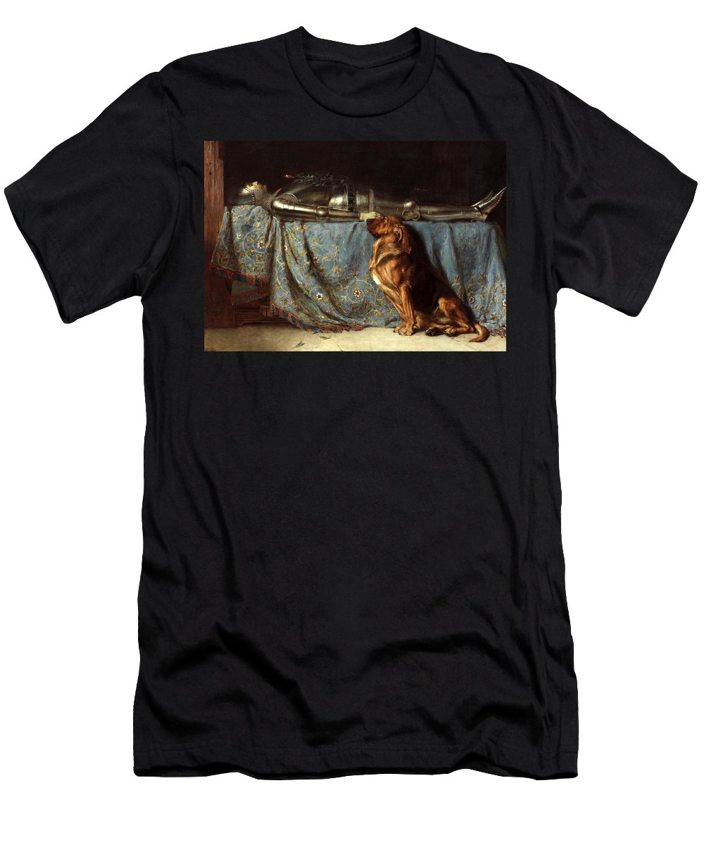 Briton Riviere Men's T-Shirt (Athletic Fit) featuring the painting Requiescat by Briton Riviere