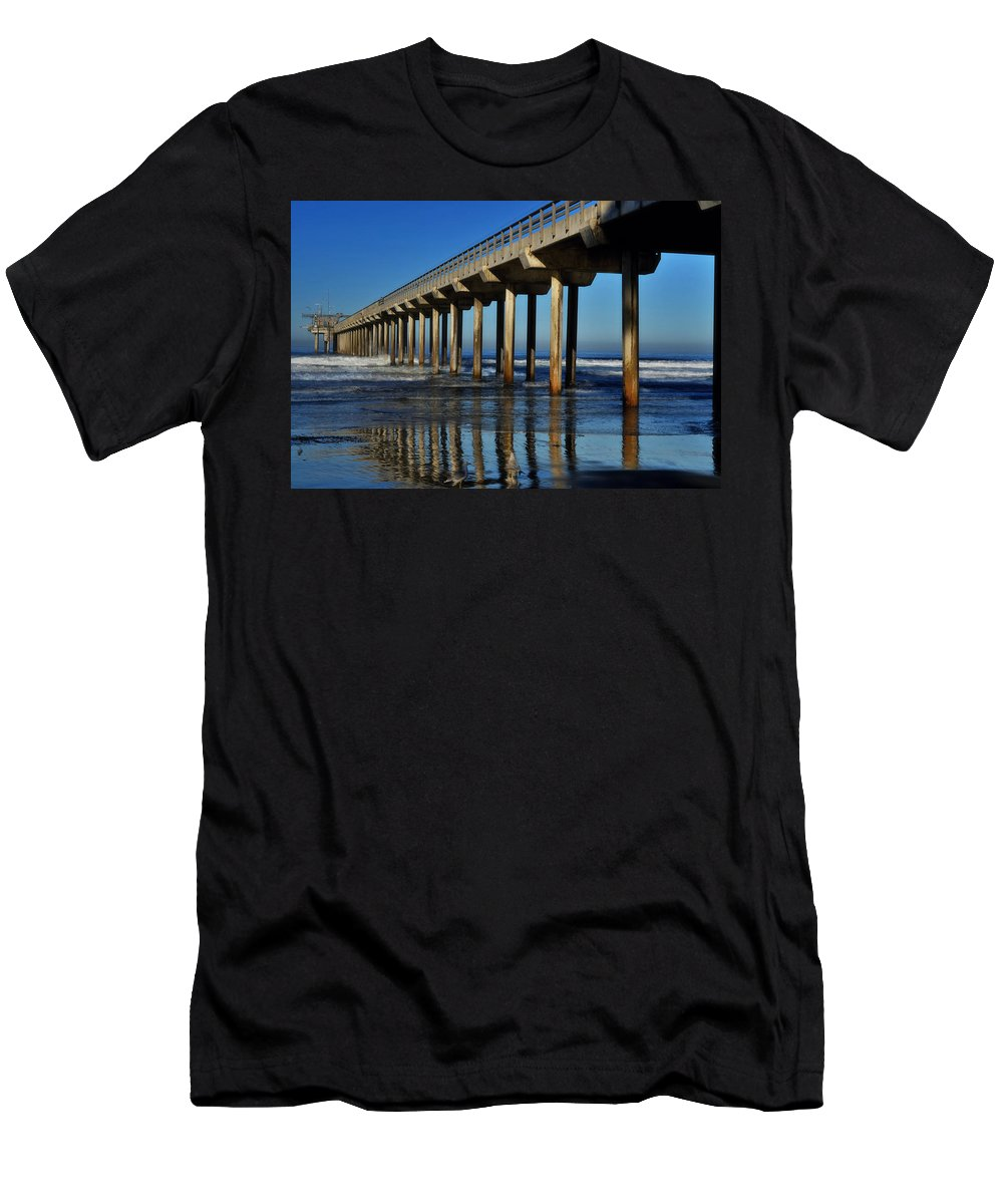 Scripps Pier Men's T-Shirt (Athletic Fit) featuring the photograph Research Pier- Scripps by See My Photos
