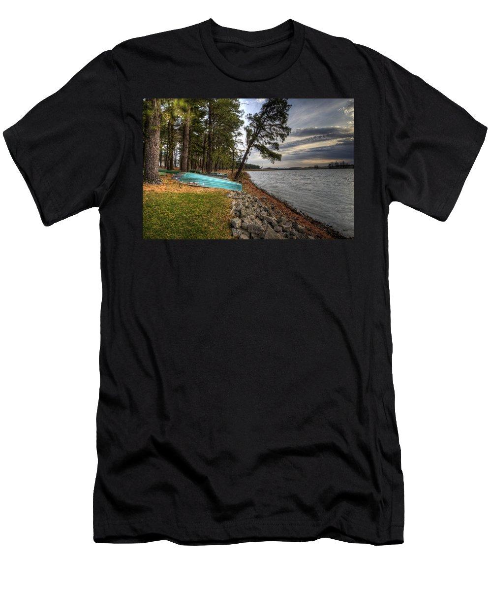 Salem Men's T-Shirt (Athletic Fit) featuring the photograph Reservoir Shoreline by David Dufresne