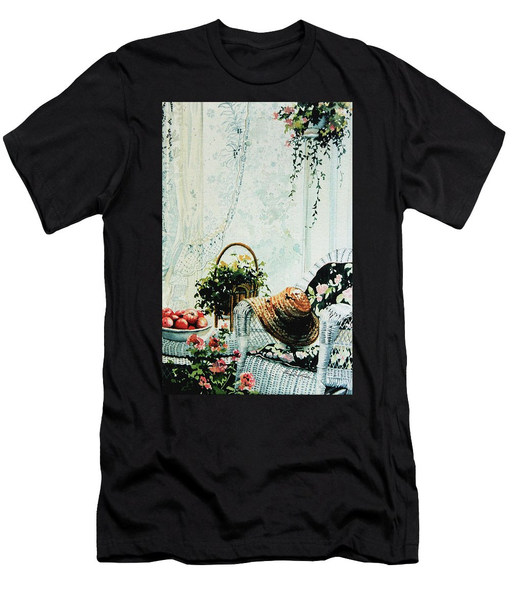 Garden Room Still Life Men's T-Shirt (Athletic Fit) featuring the painting Rest From Garden Chores by Hanne Lore Koehler