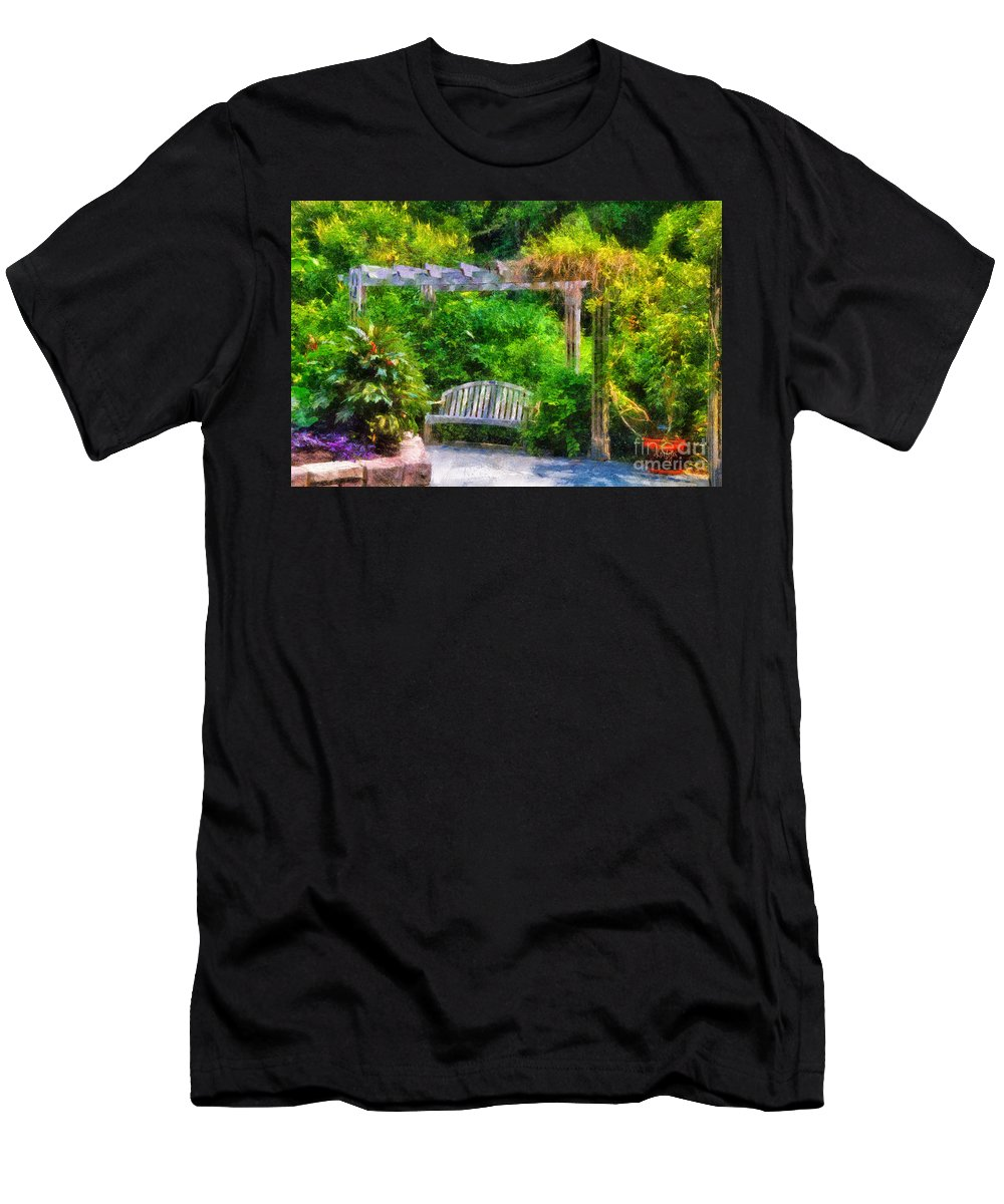 Bench Men's T-Shirt (Athletic Fit) featuring the photograph Restful Retreat by Lois Bryan