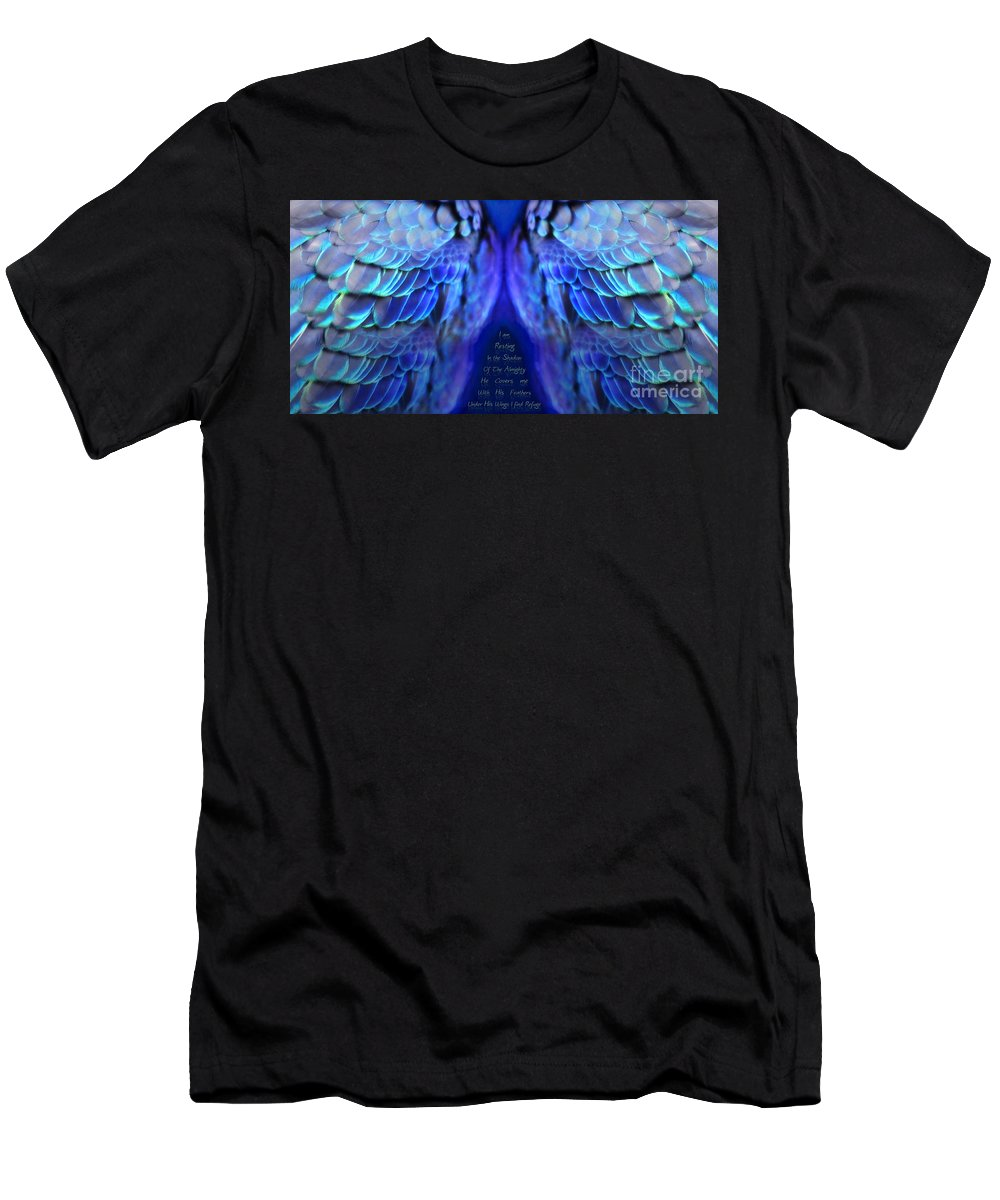 Wings Men's T-Shirt (Athletic Fit) featuring the digital art Psalm 91 Wings by Constance Woods