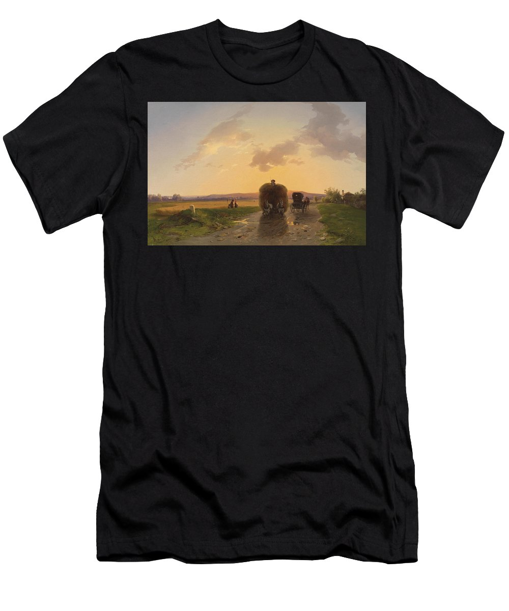 Ignaz Raffalt Men's T-Shirt (Athletic Fit) featuring the painting Return From The Field In The Evening Glow by Ignaz Raffalt