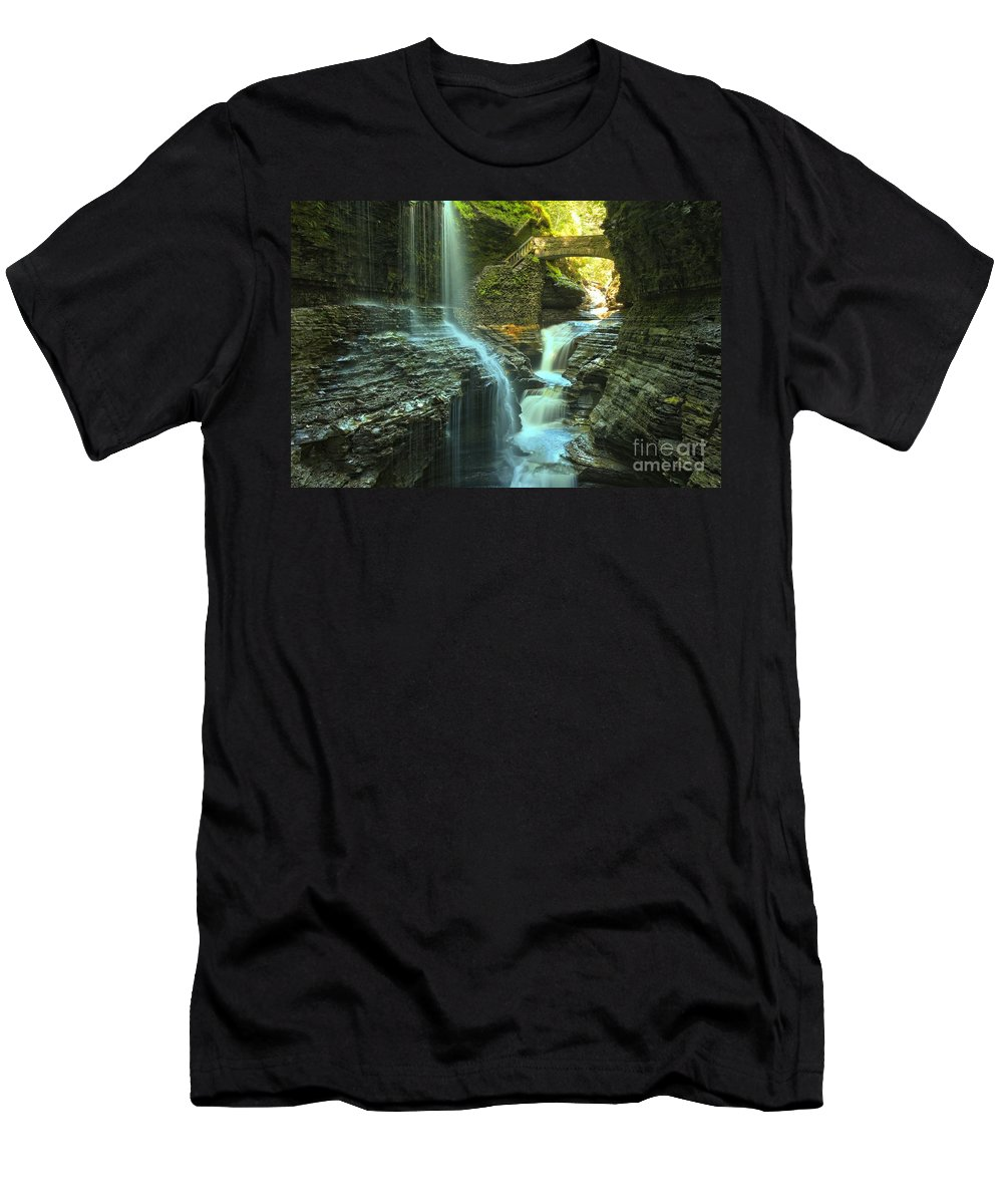 Watkins Glen State Park Men's T-Shirt (Athletic Fit) featuring the photograph Rainbow Falls Watkins Glen by Adam Jewell