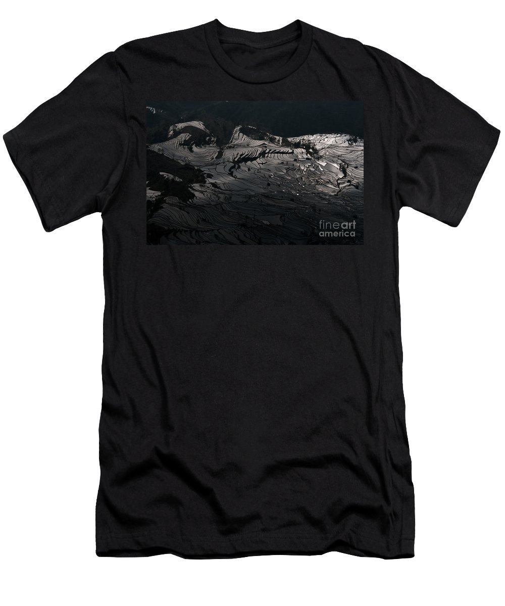 Agriculture Men's T-Shirt (Athletic Fit) featuring the photograph Rice Terrace In Black And White by Kim Pin Tan