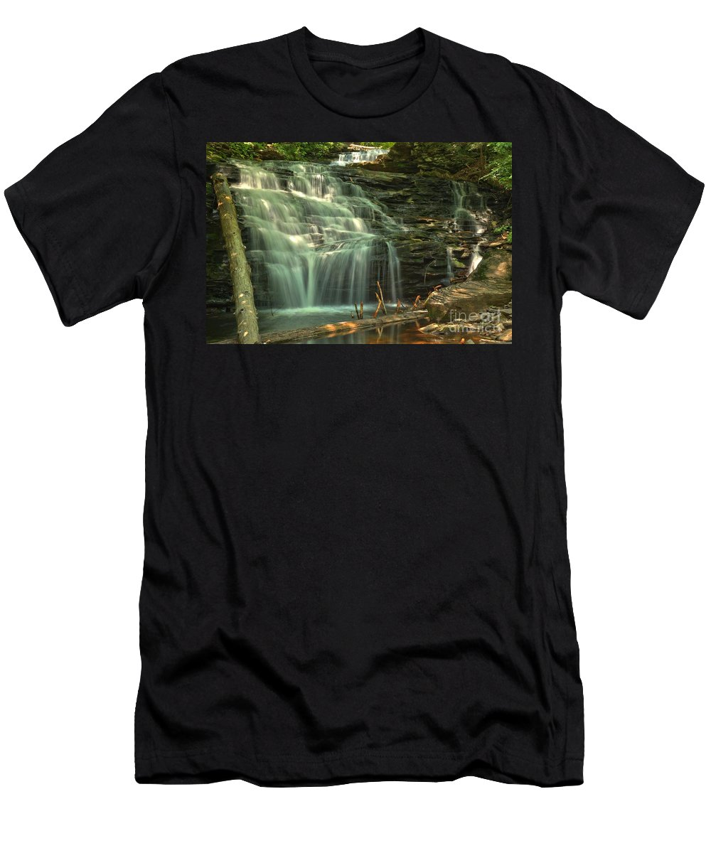 Shawnee Falls Men's T-Shirt (Athletic Fit) featuring the photograph Ricketts Glen Shawnee Waterfall by Adam Jewell