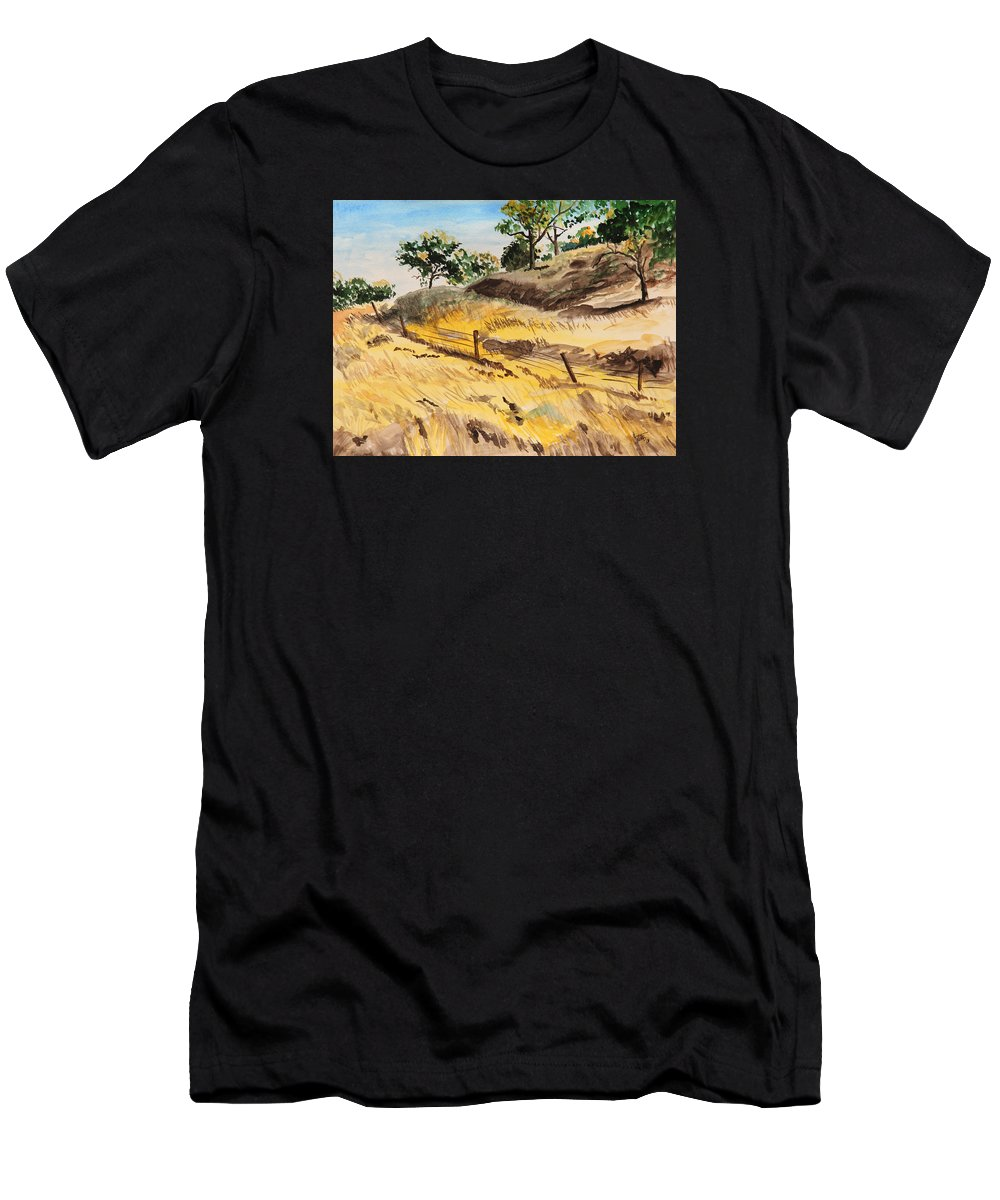 Autumn Men's T-Shirt (Athletic Fit) featuring the painting Riding By Back Road by Masha Batkova