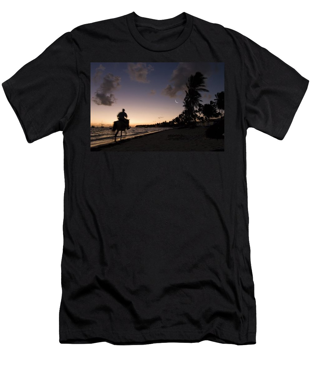 3scape Men's T-Shirt (Athletic Fit) featuring the photograph Riding On The Beach by Adam Romanowicz