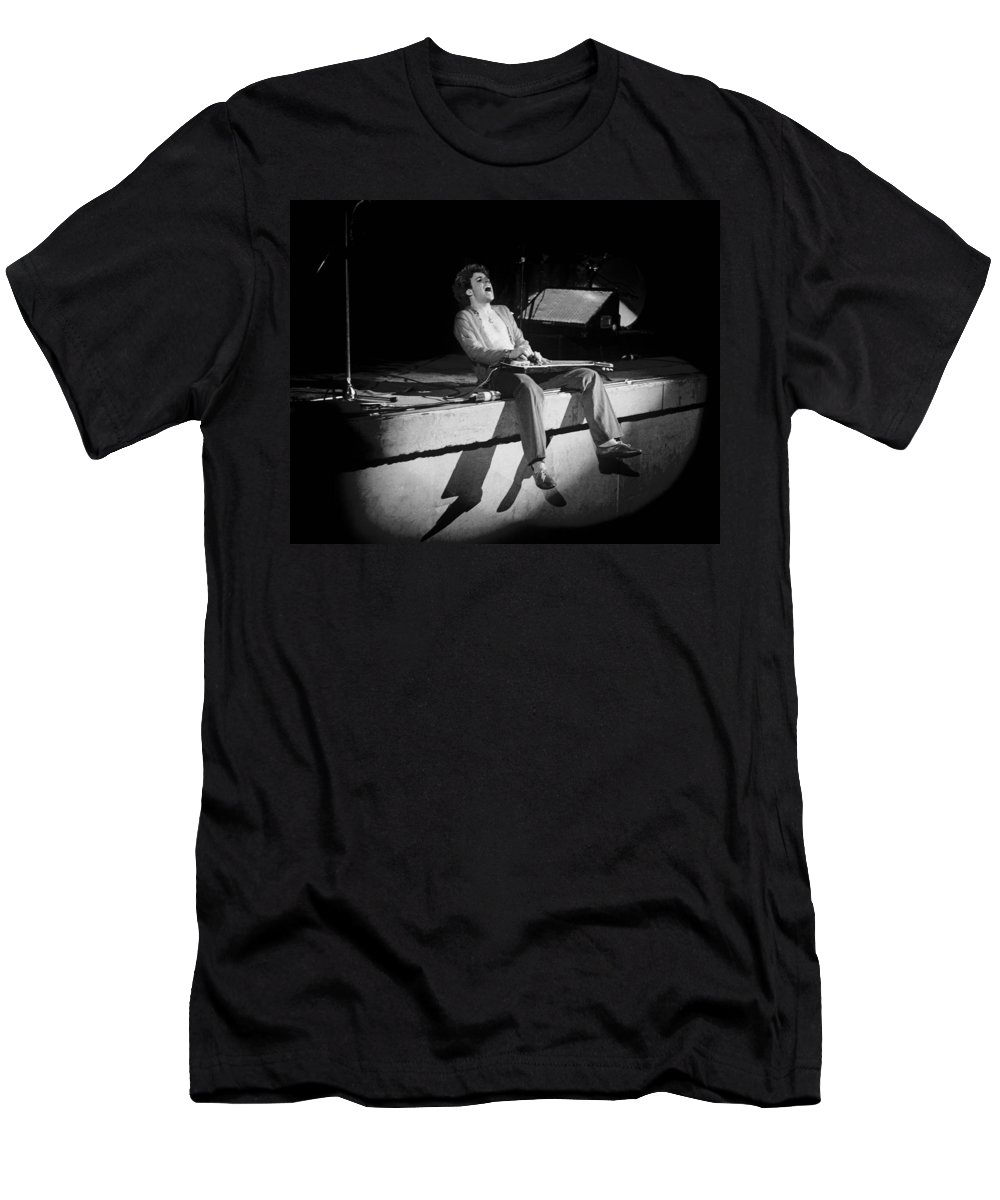Sammy Hagar Men's T-Shirt (Athletic Fit) featuring the photograph Riding The Bad Motor Scooter In Spokane On 2-2-77 by Ben Upham