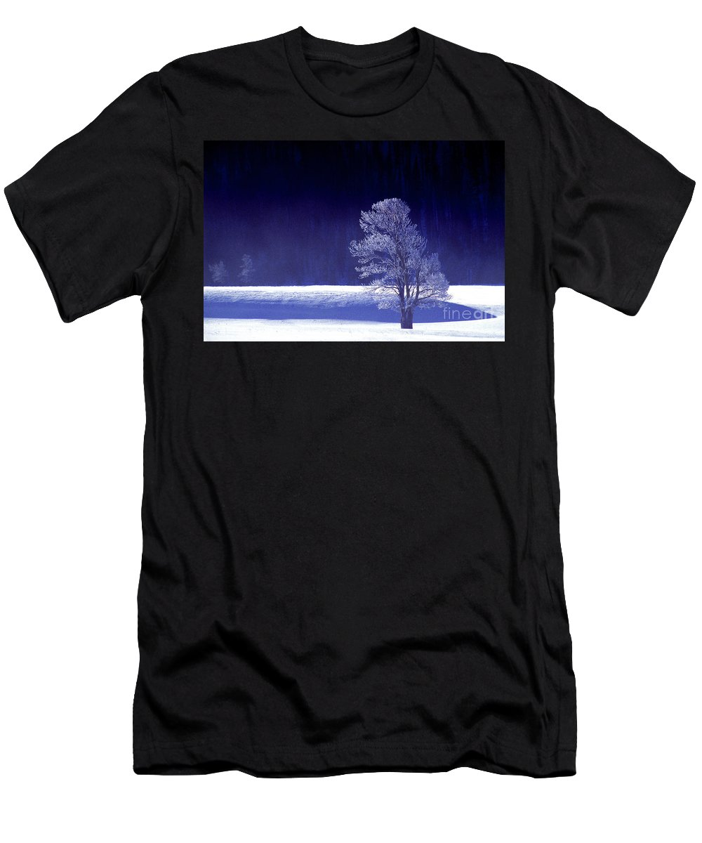 North America Men's T-Shirt (Athletic Fit) featuring the photograph Rime Ice Covered Tree Yellowstone National Park Wyoming by Dave Welling