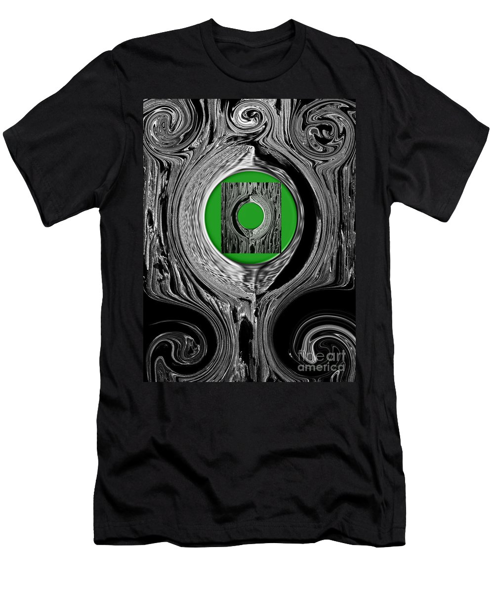 Abstract Men's T-Shirt (Athletic Fit) featuring the digital art Ripples Of The Green by Fei A