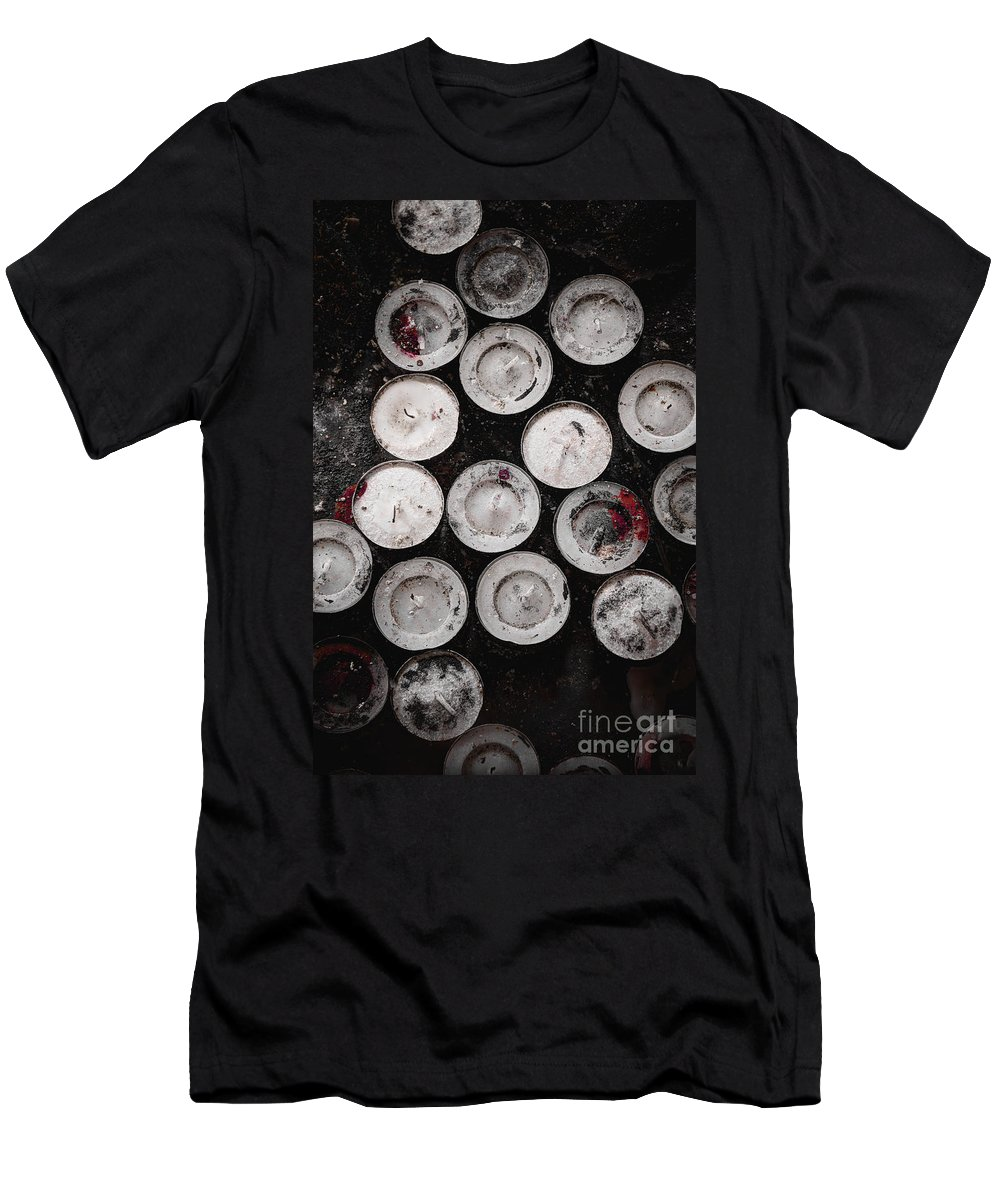 Candles Men's T-Shirt (Athletic Fit) featuring the photograph Ritual by Margie Hurwich