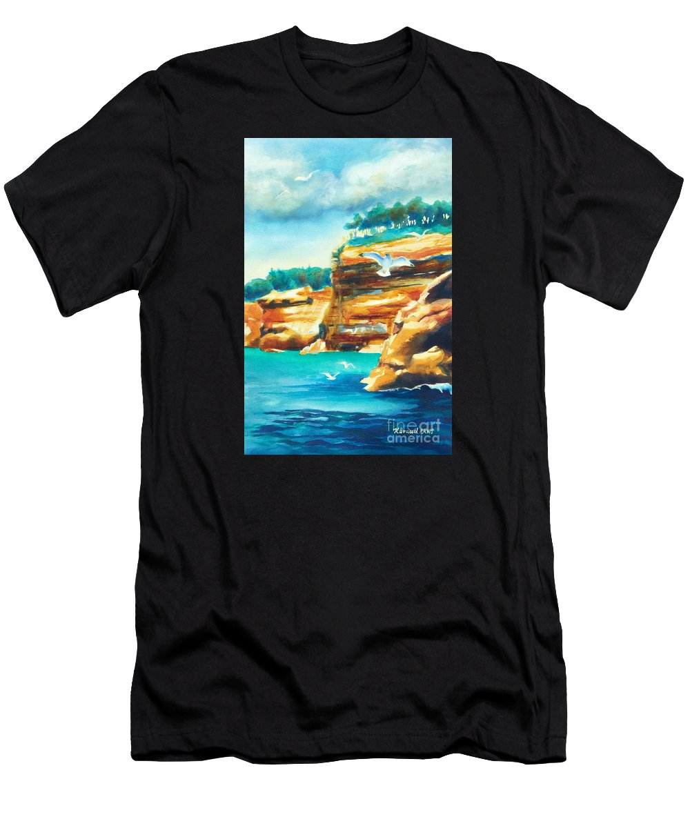 Paintings Men's T-Shirt (Athletic Fit) featuring the painting River Cliffs 2 by Kathy Braud