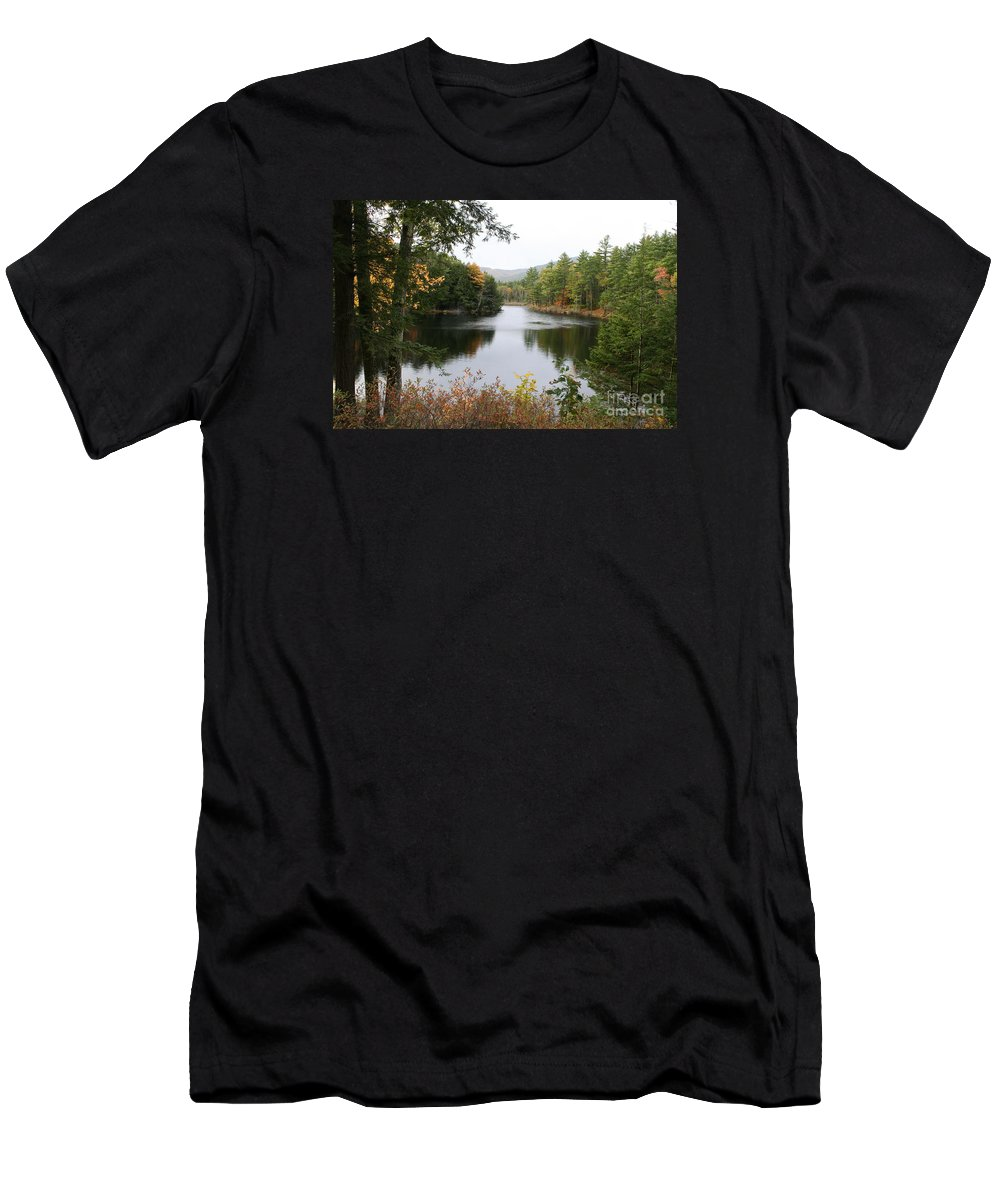 River Men's T-Shirt (Athletic Fit) featuring the photograph River North Conway by Christiane Schulze Art And Photography
