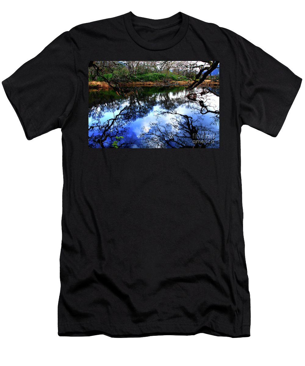 Trees Men's T-Shirt (Athletic Fit) featuring the photograph River Reflections by Aidan Moran