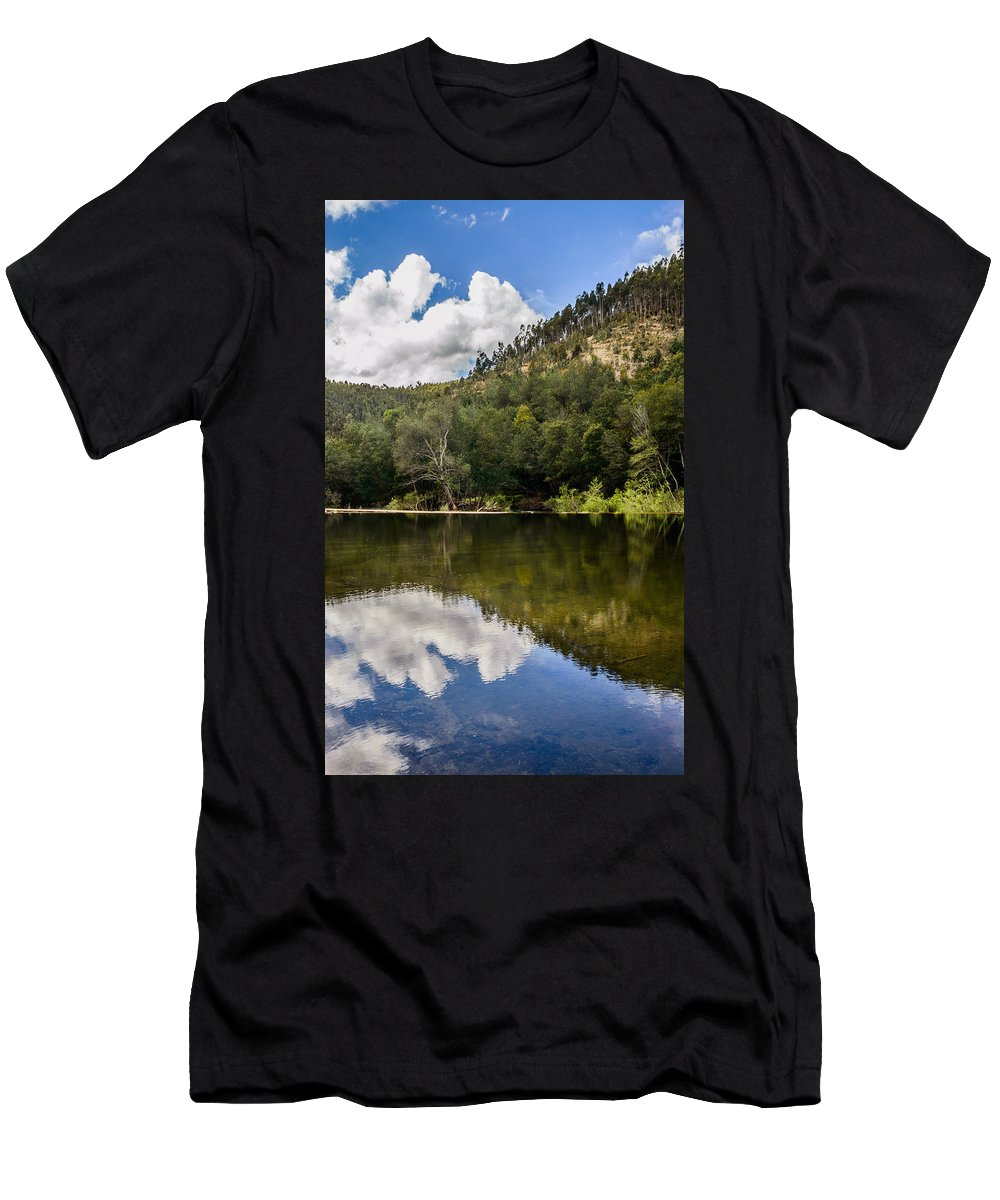 River Men's T-Shirt (Athletic Fit) featuring the photograph River Reflections I by Marco Oliveira