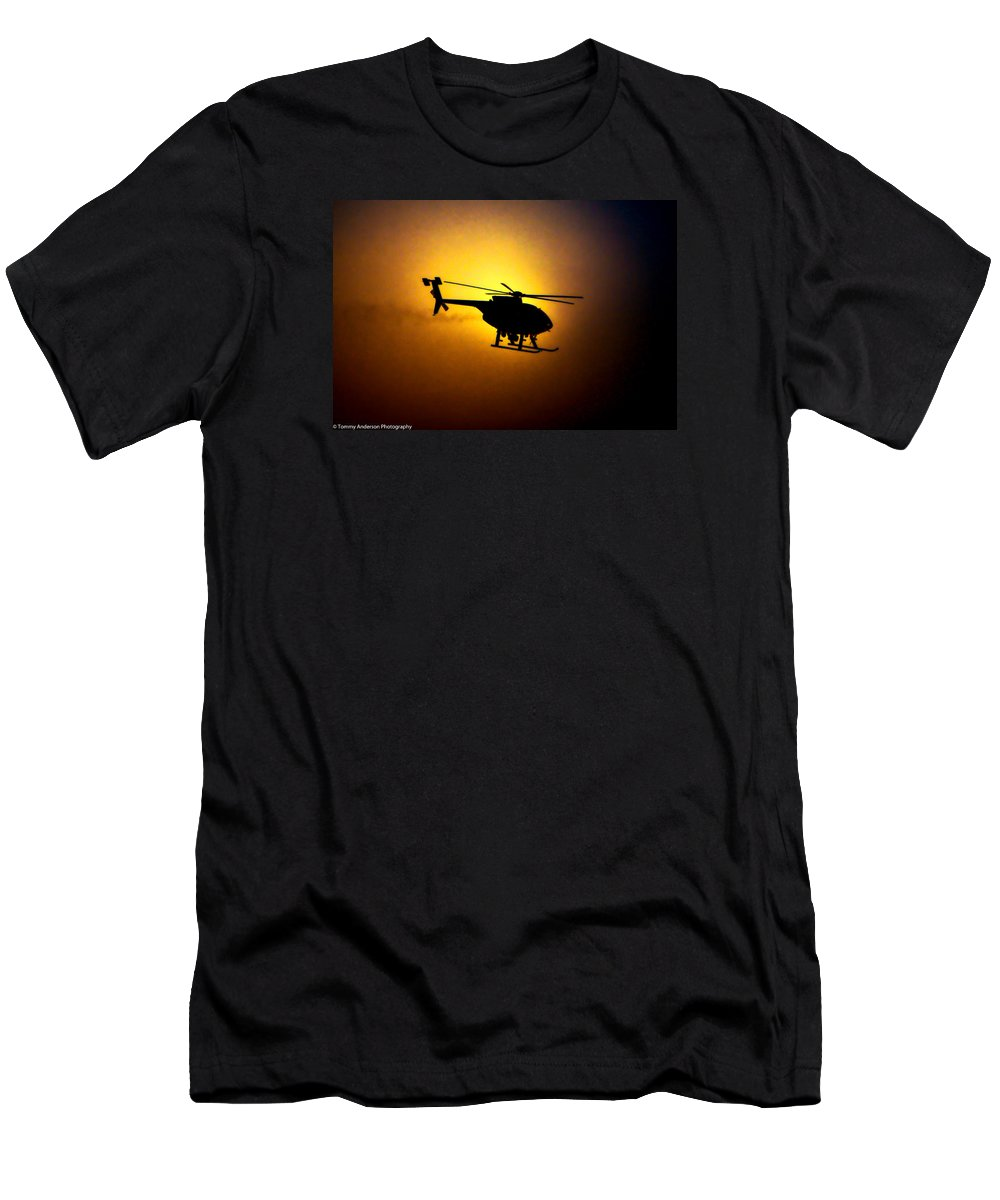 Air Support Unit Men's T-Shirt (Athletic Fit) featuring the photograph Riverside Ca Pd Air Support by Tommy Anderson