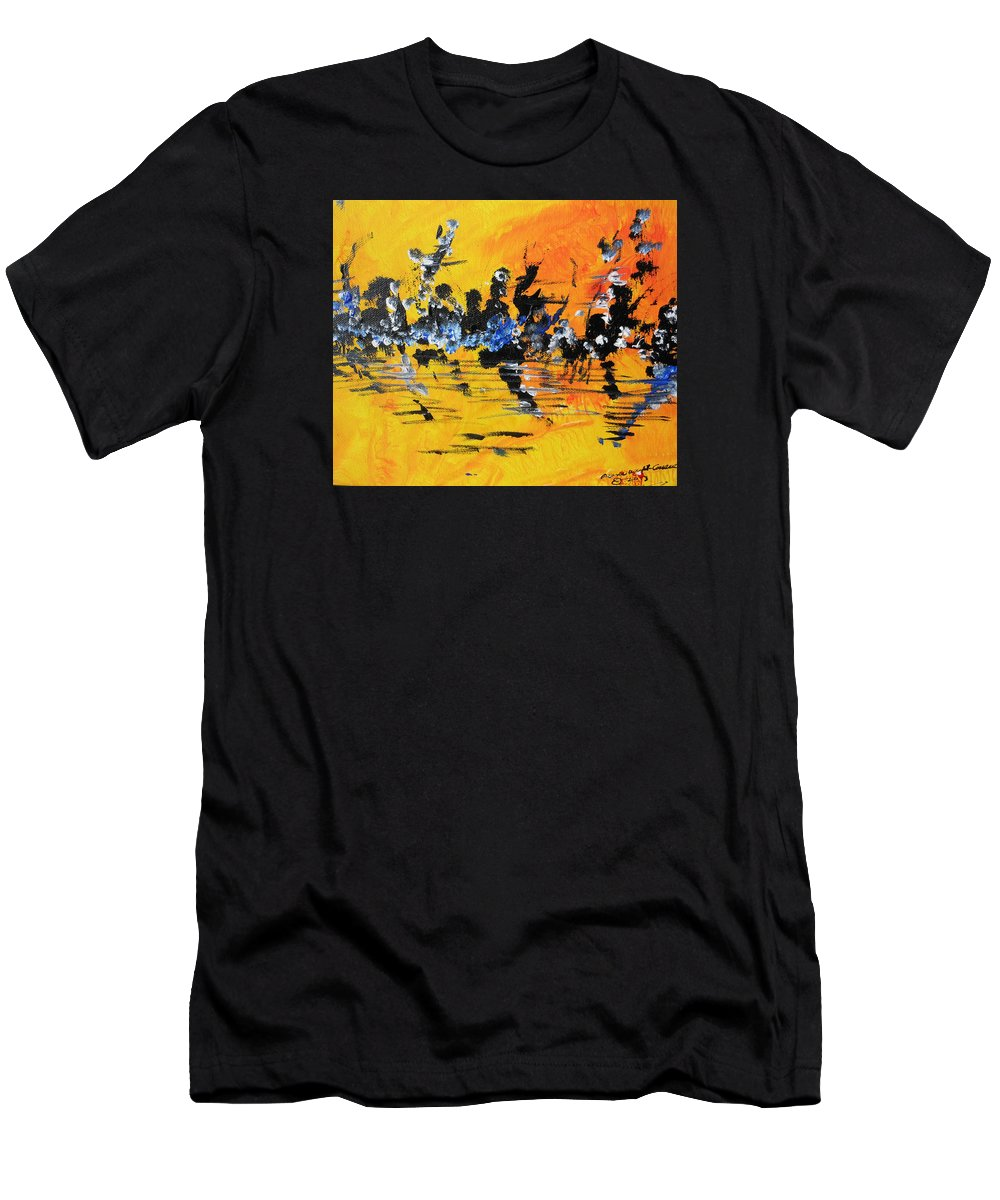 Landscape Men's T-Shirt (Athletic Fit) featuring the painting Riverside Sunset by Arlene Wright-Correll