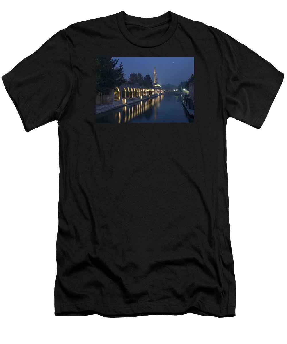 People Men's T-Shirt (Athletic Fit) featuring the photograph Rizvaniye Mosque And Halil-u Rahman by Ayhan Altun