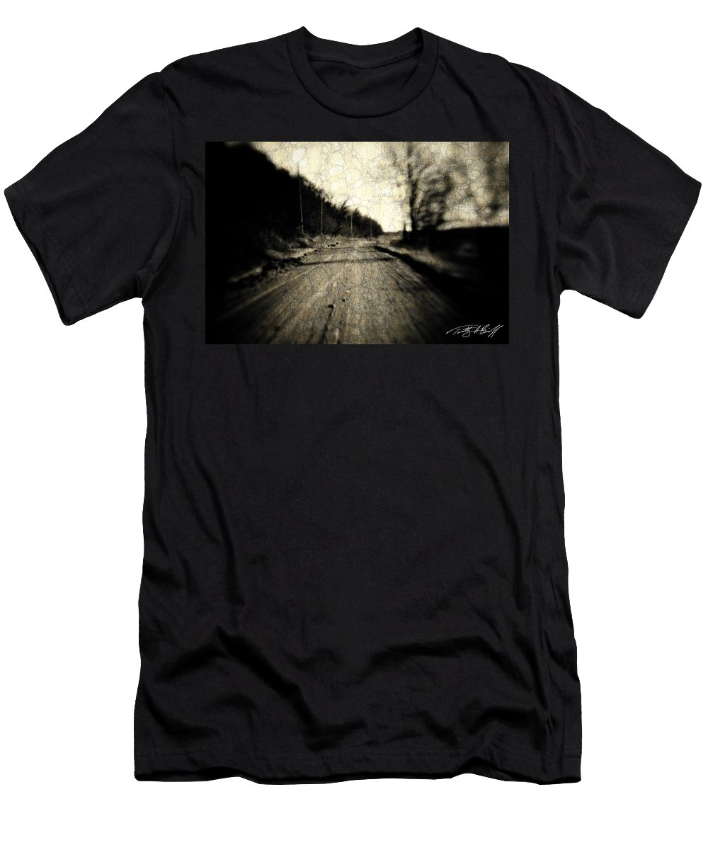 B&w Men's T-Shirt (Athletic Fit) featuring the photograph Road Of The Past by Timothy Bischoff