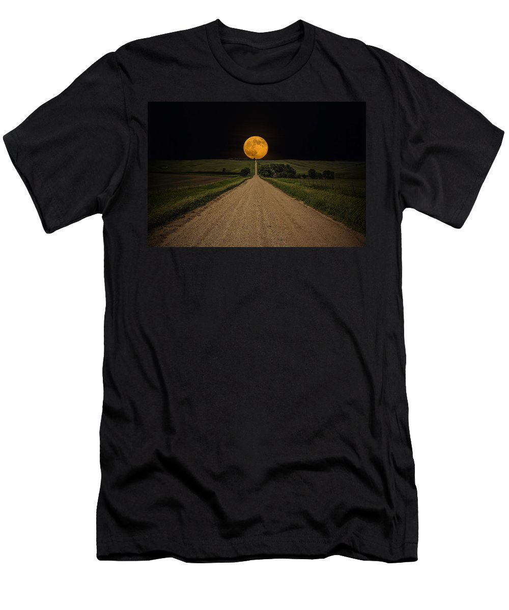 Road To Nowhere Men's T-Shirt (Athletic Fit) featuring the photograph Road To Nowhere - Supermoon by Aaron J Groen