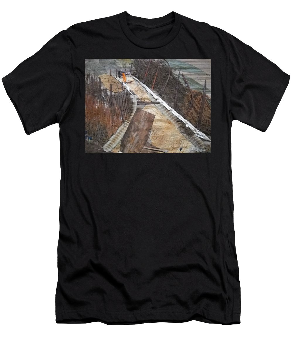 Cross Country Road Men's T-Shirt (Athletic Fit) featuring the mixed media Road With Dense Fencing by Basant Soni
