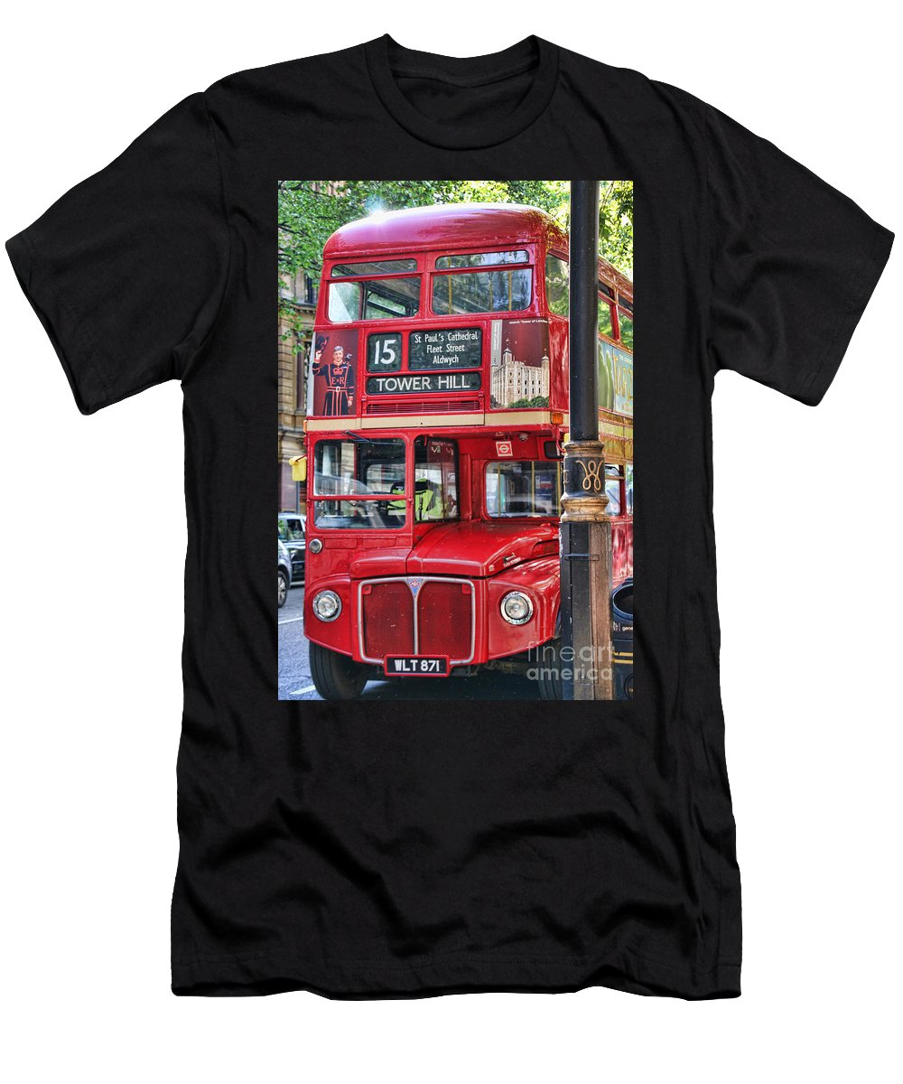 Roadmaster Bus Men's T-Shirt (Athletic Fit) featuring the photograph Roadmaster Double Decker 5261 by Jack Schultz