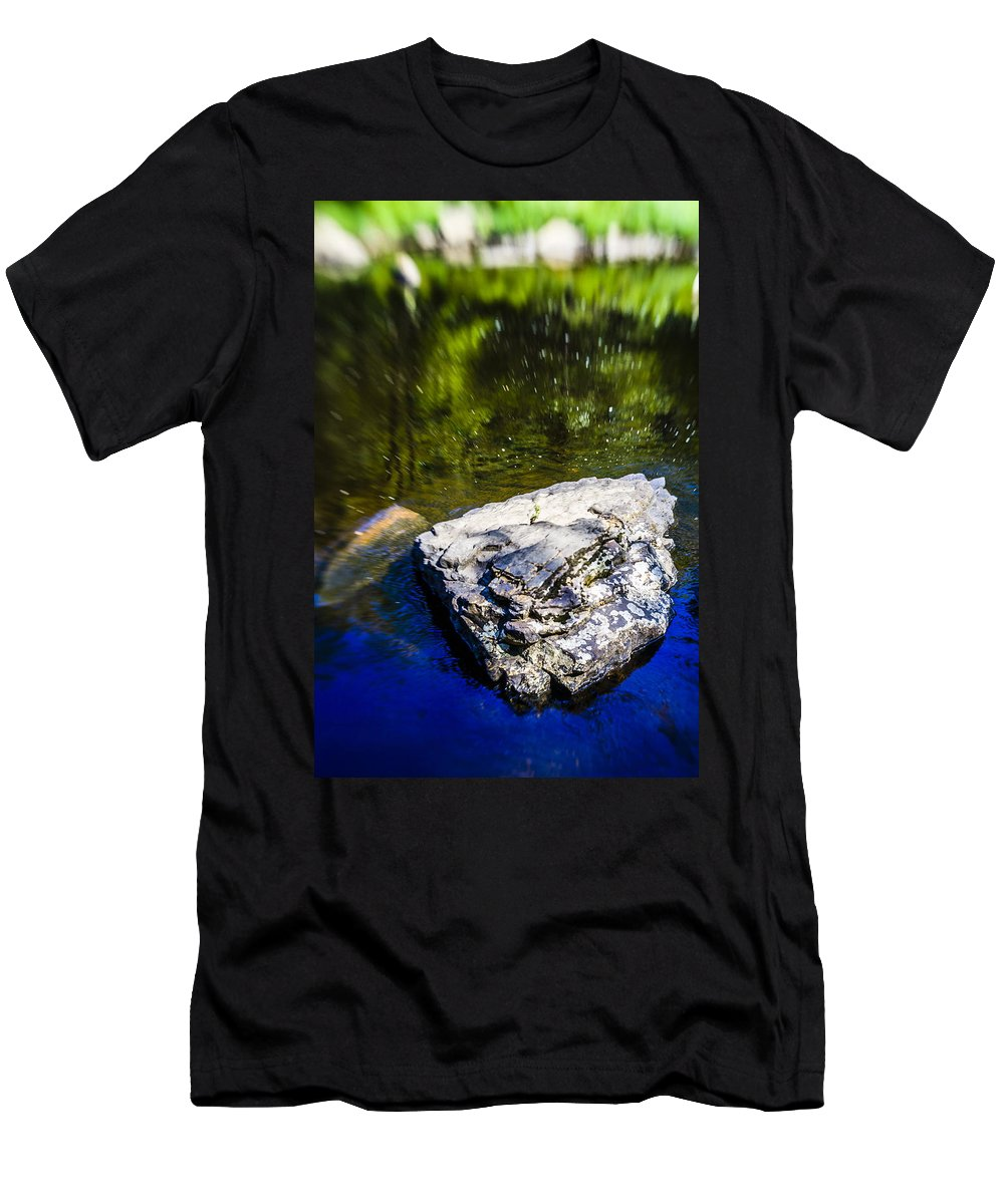 Water Men's T-Shirt (Athletic Fit) featuring the photograph Rock In The Water by Alex Potemkin