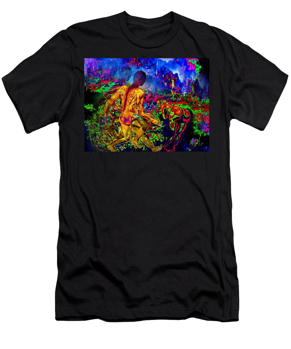 Genio Men's T-Shirt (Athletic Fit) featuring the mixed media Rock 'n' Roll In The Rhythms Of Colours by Genio GgXpress