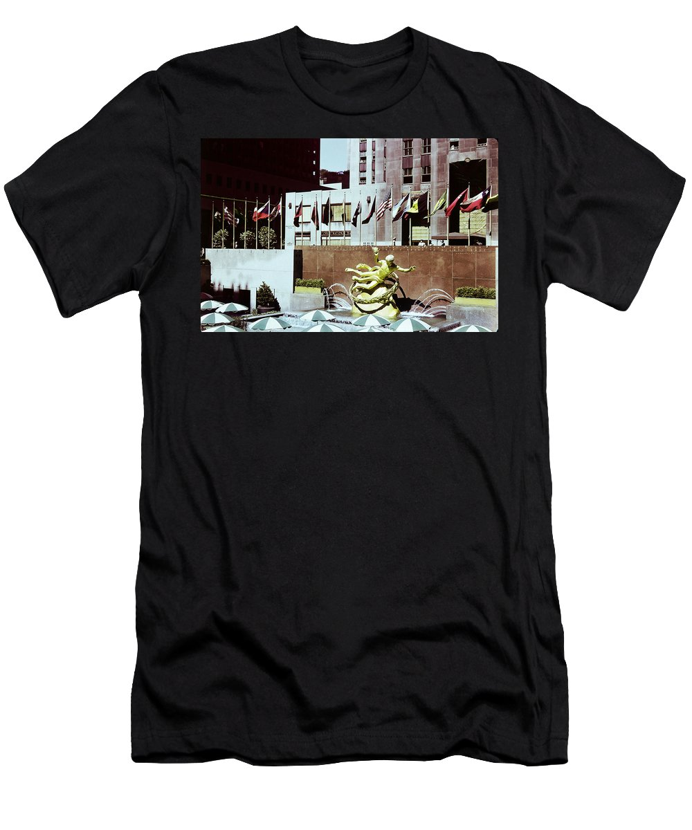 Historical Men's T-Shirt (Athletic Fit) featuring the photograph Prometheus Rockefeller Plaza 1950 by Marilyn Hunt