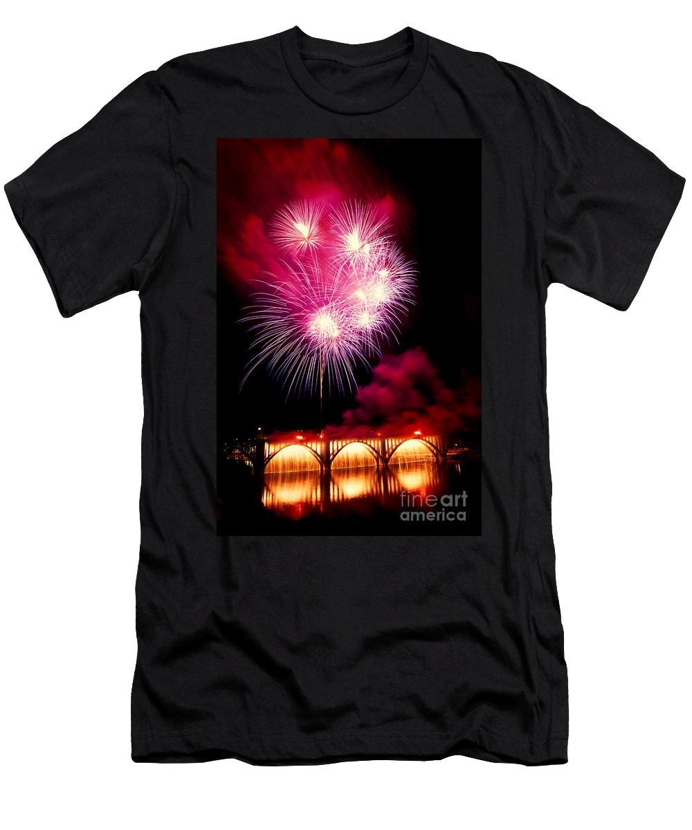Fireworks Men's T-Shirt (Athletic Fit) featuring the photograph Rockets Red Glare by Paul W Faust - Impressions of Light