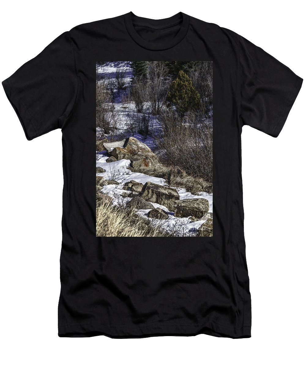 Colorado Men's T-Shirt (Athletic Fit) featuring the photograph Rocks In Snow by Timothy Hacker