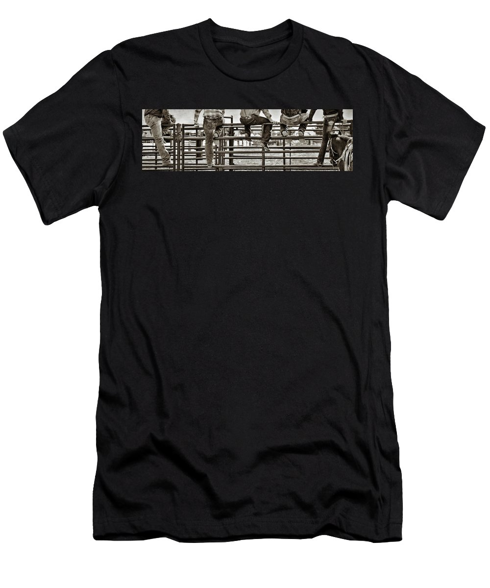 Rodeo Men's T-Shirt (Athletic Fit) featuring the photograph Rodeo Fence Sitters- Sepia by Priscilla Burgers