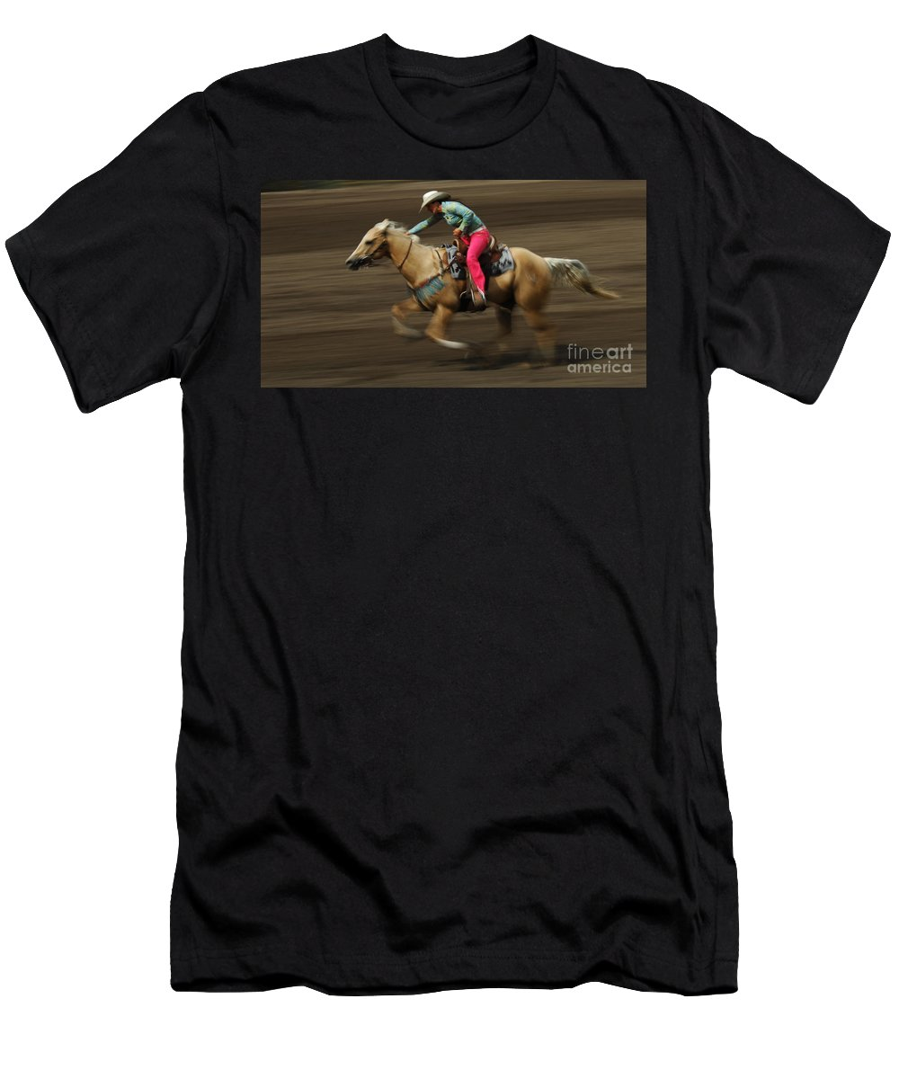 Horse Men's T-Shirt (Athletic Fit) featuring the photograph Rodeo Riding A Hurricane 2 by Bob Christopher