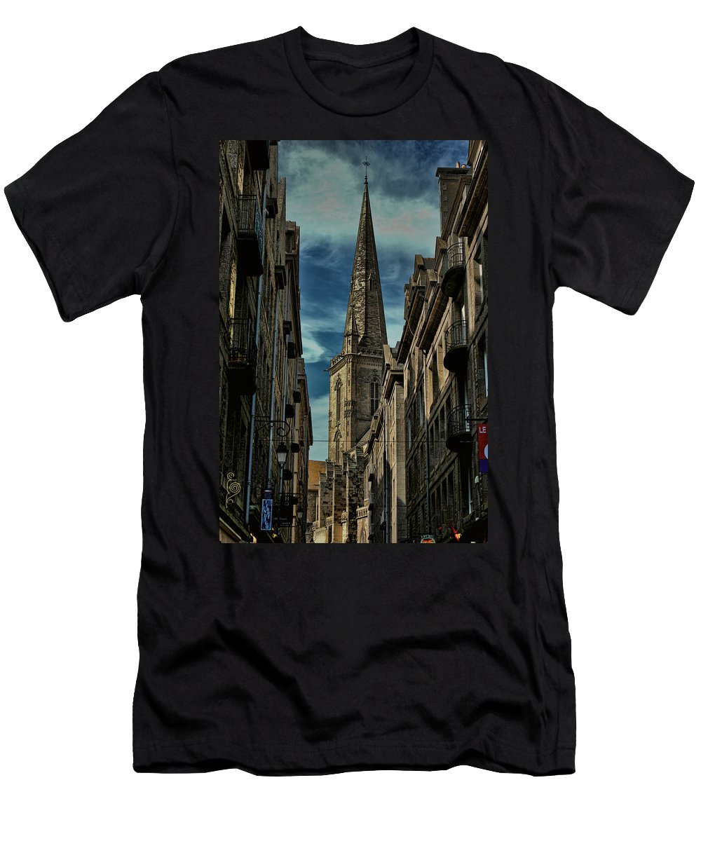 Europe Men's T-Shirt (Athletic Fit) featuring the photograph Cathedrale Saint-vincent-de-saragosse De Saint-malo by Tom Prendergast