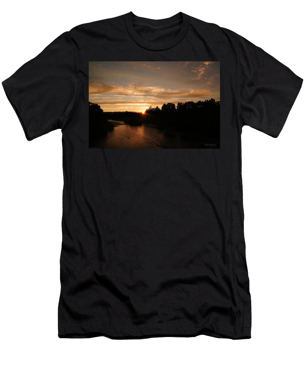 Sunset Men's T-Shirt (Athletic Fit) featuring the photograph Rogue August Sunset by Mick Anderson